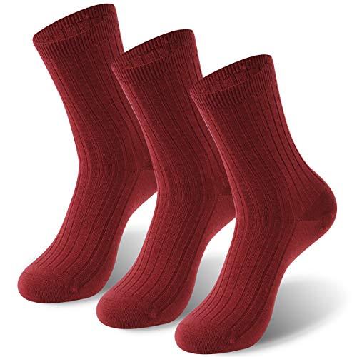 ZEALWOOD Herren Damen Merino Wolle Damen Outdoor Wandern Trail Crew Athletic Casual Socken - Rot - Small