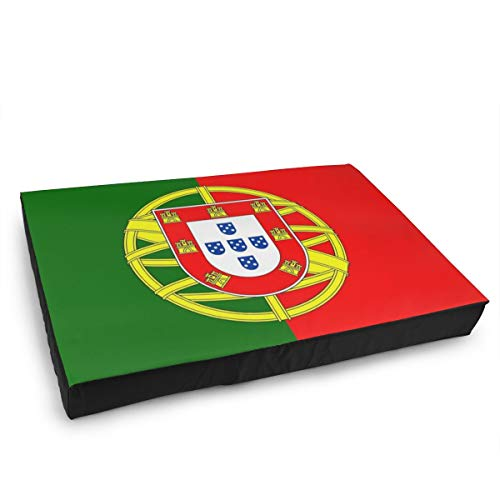 Jacklee Hond Kat Bed met Orthopedisch Schuim en Wasbaar Anti-slip Cover, Portugal Vlag