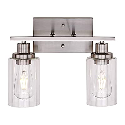 Banato Lighting 2-Light Modern Vanity Lights Sconces Bathroom Lighting Fixtures Wall Lamp Brushed Nickel Indoor Wall Light Fixture with Clear Glass Shade for Porch Stairway Kitchen Bar