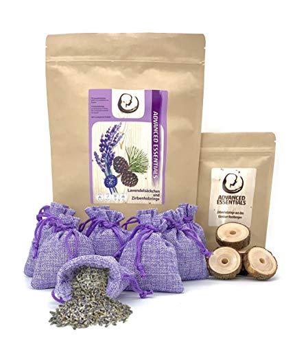 Advanced Essentials Lavendelsäckchen | 2 in 1 | Mottenschutz | 10 Lavendelsäckchen & 10 Zirbenholzringe | Mottenschutz | Spinnenabwehr | Mottenschutz für Kleiderschrank | Duftsäckchen