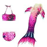 XCJ Traje De Bano Sirena Cola De Sirena Niña 3pcs Traje De Baño Mermaid Bikini Establece Disfraz De Sirena Princesa Cosplay Conjuntos (Color : Style C, Size : 150cm)