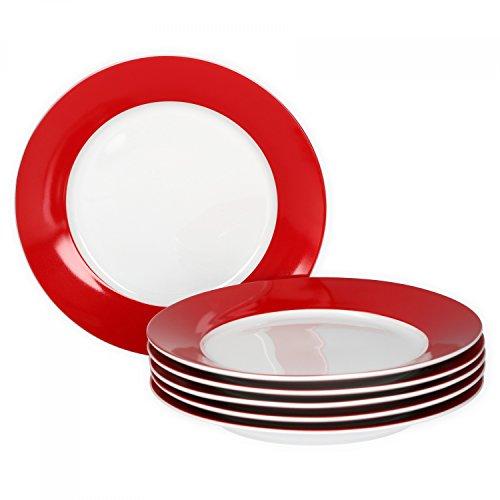 VAN WELL 6er Set Frühstücksteller Serie Vario Porzellan - Farbe wählbar, Farbe:rot