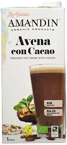 AMANDIN 400085 - Bebida De Avena Con Cacao - Paquete De 6 X 1000 Ml - Total: Ml, 6000 Mililitro, 6 Unidades