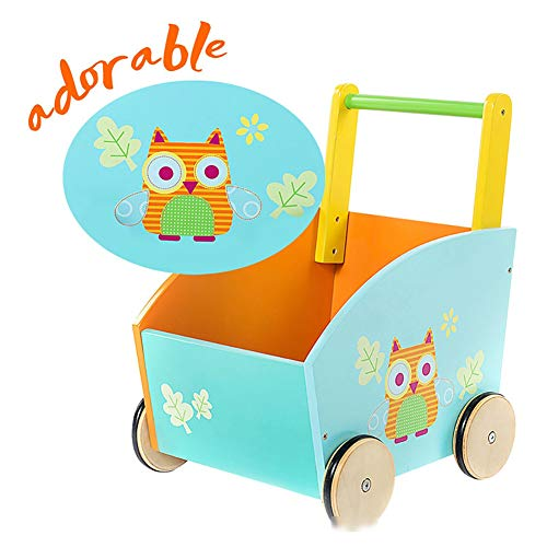 CXD Kinder Lauflernwagen Holz Orange, Eule Activity Babywalker Wagen Mit Rädern Für 1-3 Jahre Rocking Girls Toddler Swing Nreiten Toy Seat Birthday Gift,Grün