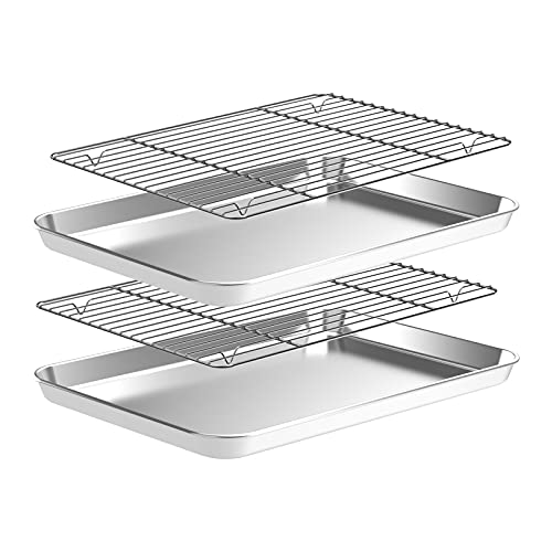 Baking Sheet with Wire Rack Set, 4pcs(2 Pans+2 Racks) Stainless Steel Cookie Sheet, Nonstick Baking Pans Set, Heavy Duty Sheet Pan Non Toxic, Rust Free, Mirror Finish, Dishwasher Safe (9 Inch)