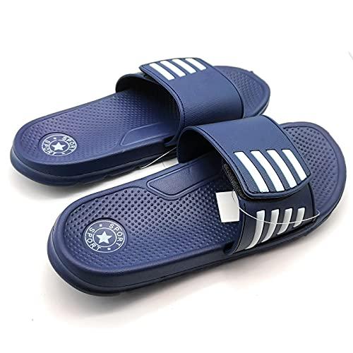 Chanclas de playa para adultos. Chanclas de goma con cierre de velcro, zapatos de playa o piscina, zapatillas de verano (Azul, Talla 45)