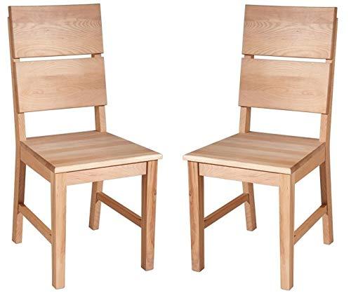 bequemes 2er Stuhlset Kernbuche Massivholz lackiert
