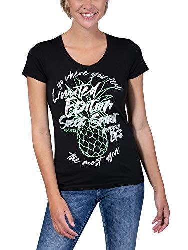 SOCCX Damen T-Shirt mit V-Ausschnitt und Artwork