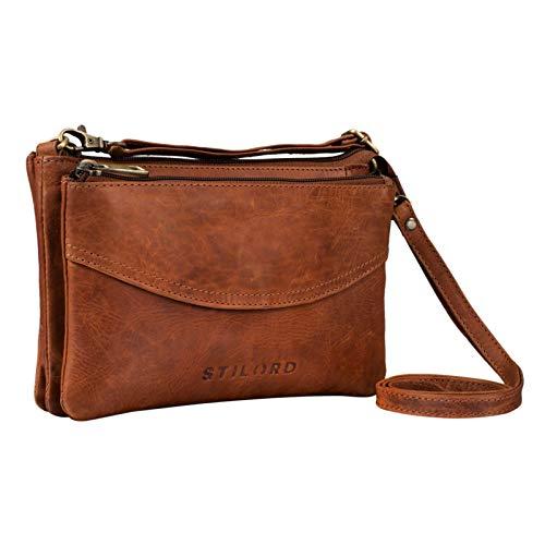 STILORD \'Merle\' 3-in-1 Umhängetasche Handtasche Handgelenktasche Leder Elegante Damen Ledertasche mit abnehmbarem Schultergurt und Handschlaufe Echtleder, Farbe:Porto - Cognac