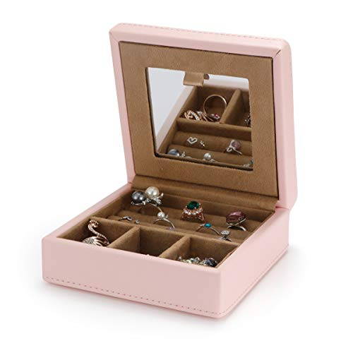 LELADY JEWELRY Juwelendoos, kleine juwelendoos, reismaat juwelendoos, PU lederen juwelendoos voor dames, meisjes
