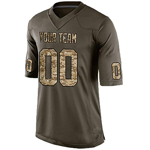 Custom Men's Camo Green Salute to Service Football Jersey Stitched Team Name and Your Numbers,Light Camo-Black Size S