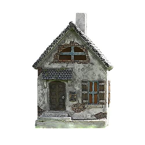 WOTEG Miniatur Gartenhaus Statuen, Robuste Witterungsbeständige Harz Puppenhaus Outdoor Classic Cottage Skulptur DIY Ornamente Zubehör für Patio, Mikro Landschaft, Hof Bonsai Decals Dekor