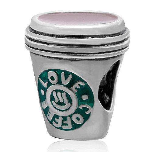 I Lvoe Coffee Charm 925 Sterling Silver Coffee Charm Mug Charm Heart Charm for Pandora Bracelet (B)