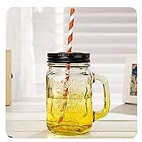 QIXIAOCYB ハンドルとストローの昔ながらの飲酒ガラスセット5,15 ozのマグカップ (Color : 5 Yellow Cups)