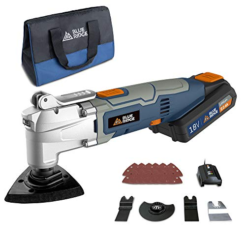 BLUE RIDGE Cordless 18V Oscillating Multi-Tool with 2.0 Ah Li-ion Battery, 24 Pcs Accessories, 1 Hour Fast Charger, 4-in1 Multi-Tool, Variable Speed, LED Light, Carry Bag Included BR2818K