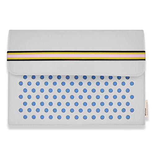 Filz-Laptoptasche mit Gürtelverschluss & Rückentaschen für MacBook Air MacBook Pro 13 Zoll / 15 - 16 Zoll (38,1 - 40,6 cm), Elfenbein/Blau