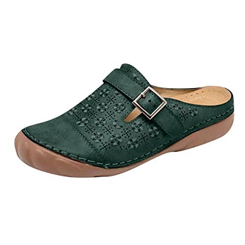 MQJ Zapatos de Verano Mujeres Sandalias Lady Sandalia Negro 2 Niña Sandalia Negro Plataforma Toe Sandalias Sandalias Slingback Sandalias,Verde,5 Uk