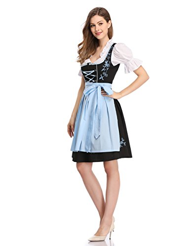 Clearlove Women's 3 Pcs Dirndl Bavarian Beer Girl Oktoberfest Costume Black with Blue S