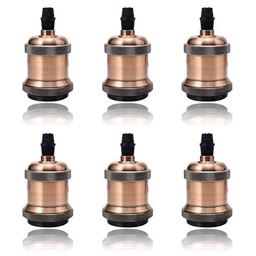 GreenSun LED Lighting 6 X Edison Lampenfassung E27 Fassung Vintage Lampensockel Deckenfassung Sockel für Hängeleucht Adapter Beleuchtung Sockel, Rot Antique Brass
