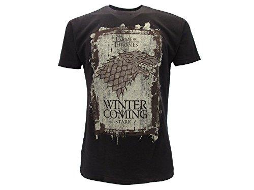 Games of Thrones T-Shirt Originale House Stark Nera Winter is Coming Trono di Spade con cartellino ed Etichetta di originalità Maglia Maglietta (XS (12-13 Anni))