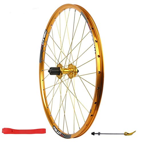 LDDLDG Juego Ruedas Bicicleta 26 Pulgadas de la montaña de la Rueda Trasera de aleación de Aluminio del Freno de Disco, 32H (Color : Gold)