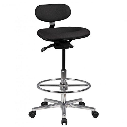Profi Arbeitsstuhl LARS höhenverstellbar mit Rollen Stoff Schwarz   Drehstuhl mit Ringfußstütze 60-85 cm hoch   Stehhilfe ohne Armlehnen
