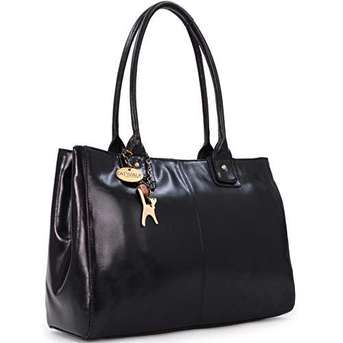 Catwalk Collection Handbags - Vera Pelle - Grande Borsa a Spalla/Borse a Mano/Tote - Con Ciondolo a Forma di Gatto - Kensington - NERO