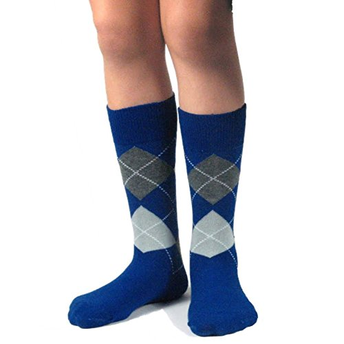 Spotlight Hosiery Junior's Groomsmen/Ring Bearer Wedding Argyle Dress Socks-Royal Blue/Dark Gray/Light Gray