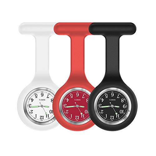 Nurse Watch,Nurse Fob Watch,Nursing Watch,Clip Watch,Lapel Watch,Nurse Fob Watch with Second Hand,Clip on Nursing Watch (White Red Black)