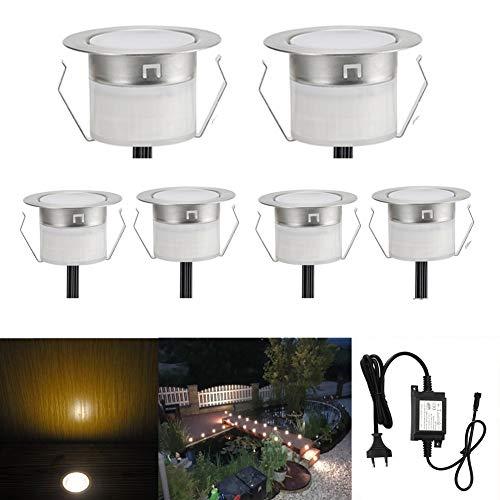 Spot à Encastrable Lampe de sol-Lumière (Blanc Chaud) étanche IP67 DC12V 0.6W Ø31mm-éclairage pour terrasse, patio, chemin, mur, jardin, décoration, intérieur et extérieur