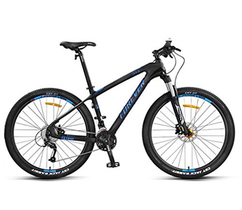 Mountain Bikes Carbon Fiber Frame Double Suspension Mountain Bike 27.5 Inches, Dual Disc Brake Unisex Mountain Bike Mountain Bike, 27/30-speed 30 speed/Blue
