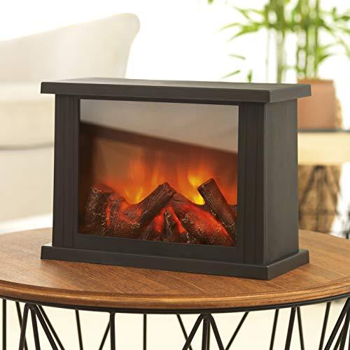 EASYmaxx 05330 LED-Tischkamin | Lodernde Flammen | Schwarz, 15 x 15 x 23,5 cm
