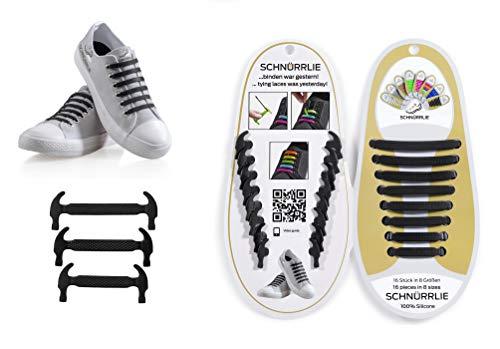 SCHNÜRRLIE Schnürsenkel - elastische Silikon Schnürsenkel - Schuhband ohne Schuhe Binden - Flache Gummi Schnürbänder für Kinder und Erwachsene - Schwarz