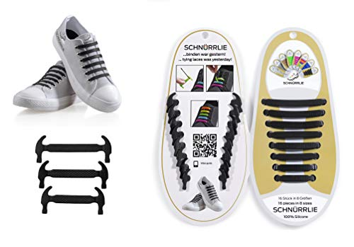 SCHNÜRRLIE elastische Silikon Schnürsenkel ohne Binden für Kinder & Erwachsene 16 Stück Farbe Schwarz