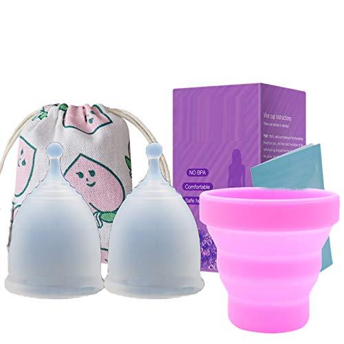Timagebreze 4 Piezas/Lote Copa Menstrual para Higiene Femenina Copa de Silicona MéDica Copa Menstrual Reutilizable para Mujer (Transparente) L