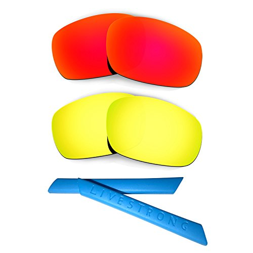 HKUCO Red/24K Gold Polarized Replacement Lenses Plus Blue Earsocks Rubber Kit for Oakley Racing Jacket