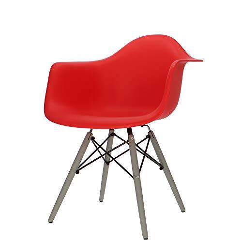 Popfurniture POP Designer Stuhl DAW mit Armlehne und graue Beine - Esszimmerstuhl, Wohnzimmerstuhl, Bürostuhl, Retro Stuhl aus Kunststoff und Ahornholz | 63 x 60 x 82 cm | Rot