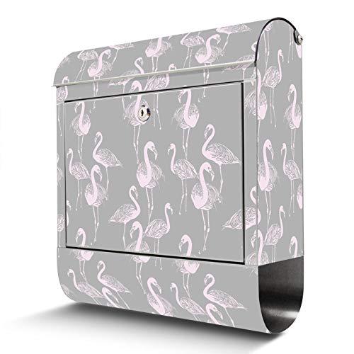 BANJADO Edelstahl Briefkasten mit Zeitungsfach | Design Motivbriefkasten | Briefkasten 38x43x12cm groß | Postkasten mit Montagematerial | 2 Schlüssel Motiv Flamingos Blass