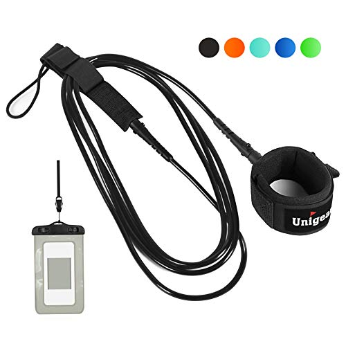 Unigear Surfboard Leash, Premium and Straight Surf Leash for Safer and Unbounded Surfing with Waterproof Phone Case, 6/8/9/10 feet (Black, 10ft)