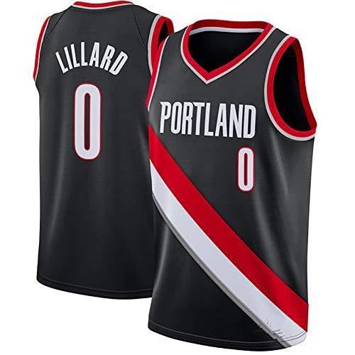 NBA Hombre Jersey,Trail Blazers n#0 Lillard Ropa de Baloncesto,Camisetas Al Aire Libre Casual Mujer Redondo CháNdales,Black,L