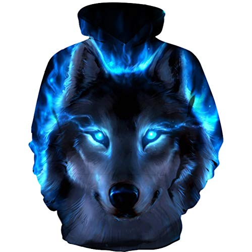 GLUDEAR Boys' Girls' Novelty Galaxy Hoodies Sweatshirts Pullover,Wolf,13-14T