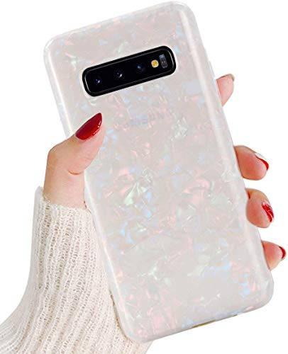 J.west Galaxy S10 Plus Case, Luxury Sparkle Glitter Cute Phone Case Girls Women Pretty Design Translucent Clear Slim TPU Soft Rubber Silicone Cover Protective Case for Samsung Galaxy S10 Plus Colorful