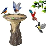 NUB Fairy Garden Bird Bath House Tree House Comedero para Baño De Pájaros Polyresin Bird Bath para Exterior con Pedestal Marrón, Casa De Hadas En Miniatura En Un Tocón De Árbol