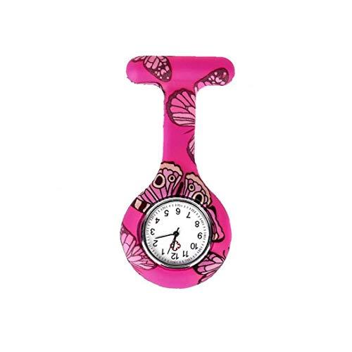 Newin Star Reloj de Bolsillo Floral Forma de Las Mujeres T, Broche de Bolsillo de Silicona Reloj de Pulsera analógico de Cuarzo Clip Fob Médico Reloj de la Enfermera