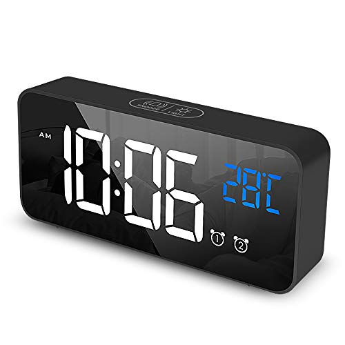 Ohiyoo Sveglia Digitale, Sveglia da Comodino con Temperatura e LED Grande Schermo, Orologio a Specchio con 2 Allarme, Funzione Snooze,Temperatura Interna, Funzione di Controllo vocale, per Casa.