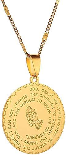 Yiffshunl Collar Collar de Acero Inoxidable Versículo de la Biblia Collar con Colgante de oración Manos de oración Medalla de Monedas Collar con Colgante de joyería Niñas niños Regalo