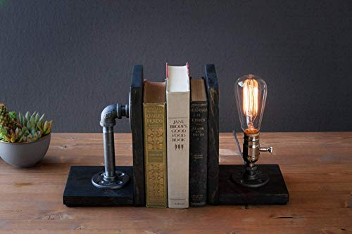 Industrial bookend Steampunk table pipe lamp with Classic Edison bulb and Weathered wood base