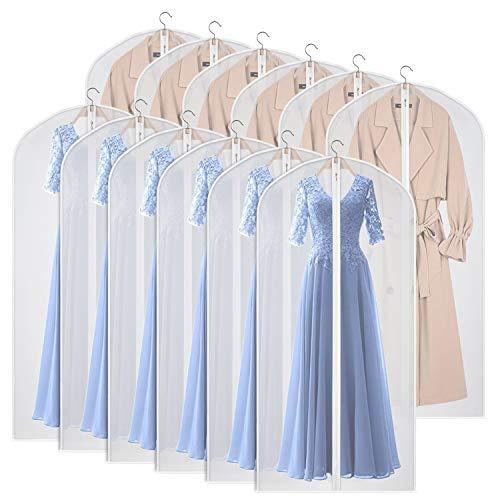 긴 드레스 수트 코트 클로셋 의류 보관용 지퍼가 달린 60인치 분진 증명 슈트 보호대 커버 백 12세트