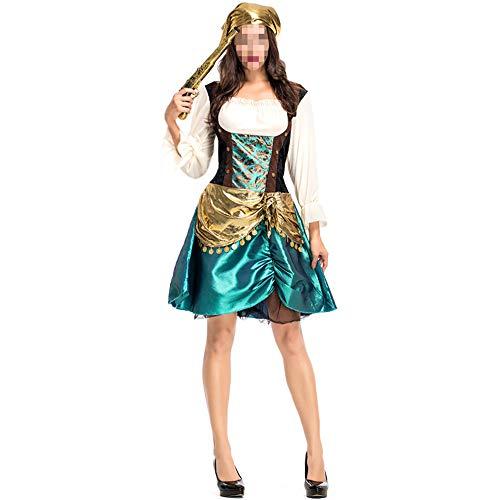 Disfraz Halloween, Carnaval Disfraz Cosplay para Disfraz Halloween Cosplay,Precioso Disfraz De Pirata Femenino Disfraz De Escenario Pirata Femenino Cos Disfraz Juego De Disfraces