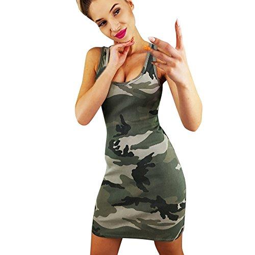 BURFLY Camouflage Print ärmeloses Kleid, Frauen Urlaub Camouflage Kleid Damen Sommer Strand ärmeloses Kleid (M, Tarnung)